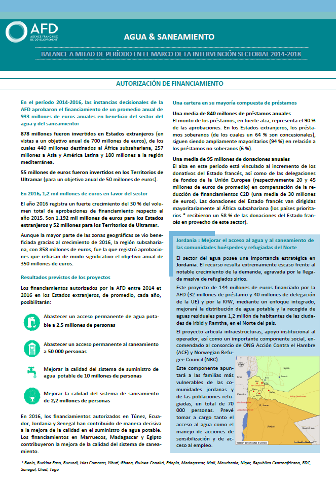 Water and sanitation: mid-term review of the sectorial intervention framework for 2014-2018 cover
