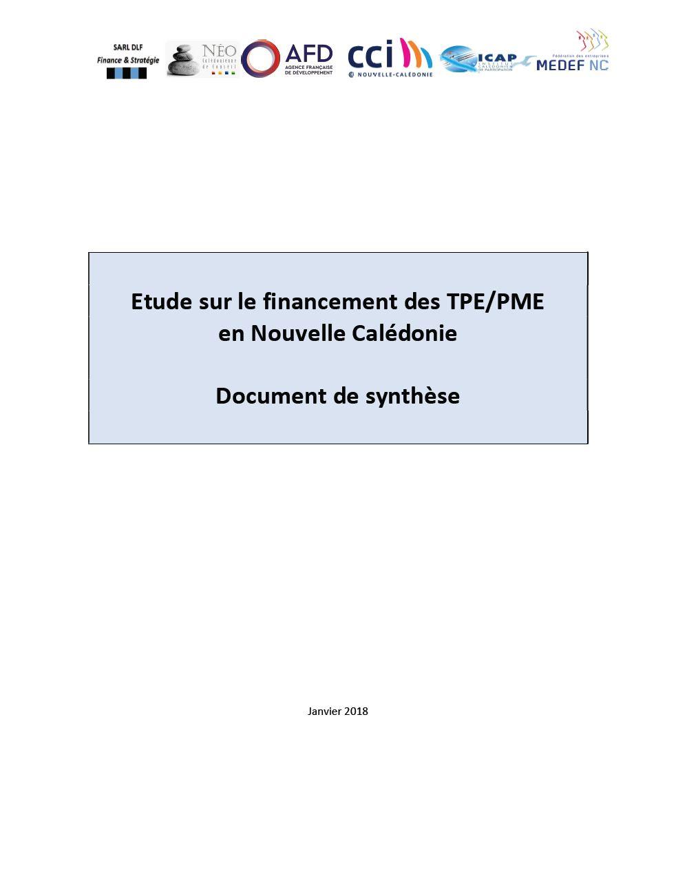 etude financement TPE PME Nouvelle-Calédonie