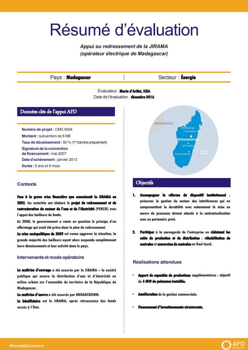Résumé d'évaluation - Appui au redressement de la JIRAMA (opérateur électrique de Madagascar)