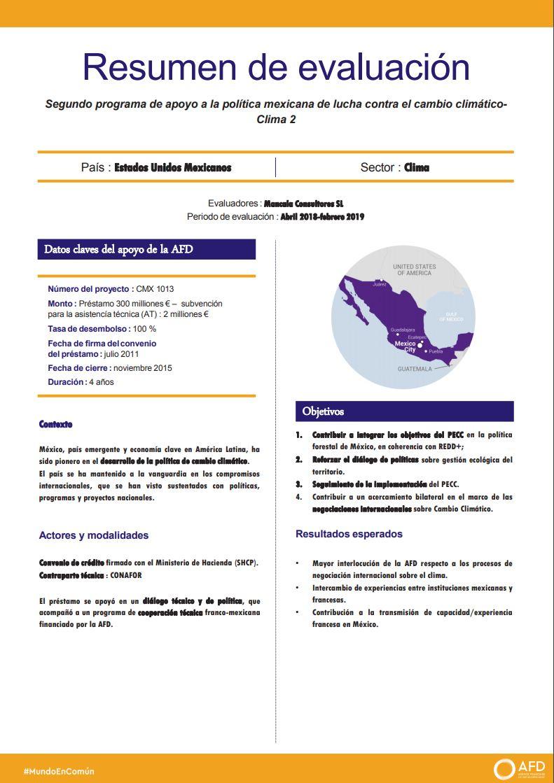 Resumen de evaluación - Segundo programa de apoyo a la política mexicana de lucha contra el cambio climático (Clima 2)