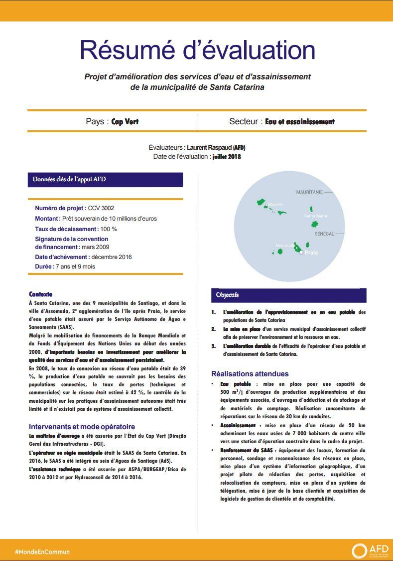 Résumé d'évaluation - Projet d'amélioration des services d'eau et d'assainissement de la municipalité de Santa Catarina