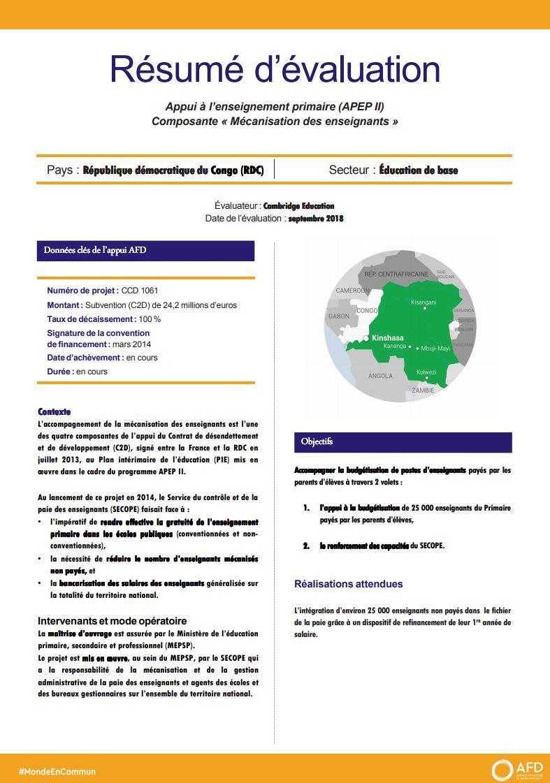 Résumé d'évaluation - Appui à l'enseignement primaire (APEP II) Composante « Mécanisation des enseignants », RDC