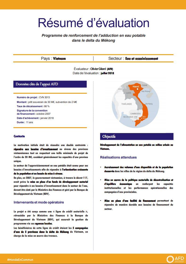 Résumé d'évaluation - Programme de renforcement de l'adduction en eau potable dans le delta du Mékong