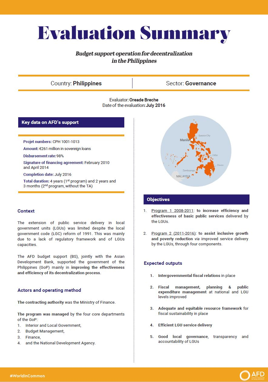 Evaluation Summary - Budget support operation for decentralization in the Philippines