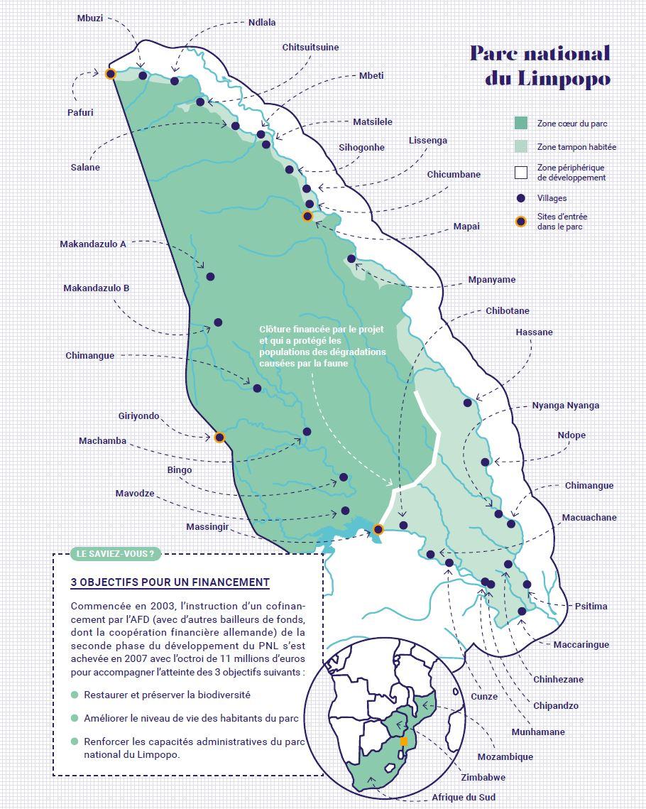 Carte du parc national du Limpopo