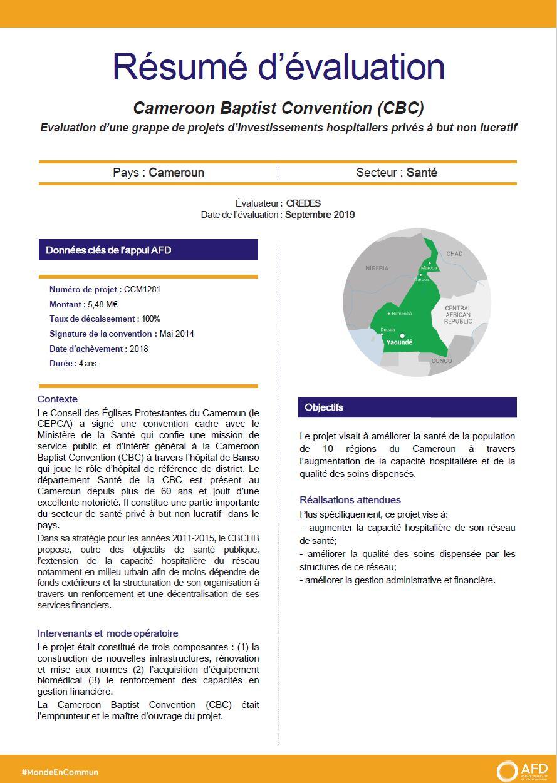 Résumé d'évaluation - Cameroon Baptist Convention (CBC) Evaluation d'une grappe de projets d'investissements hospitaliers privés à but non lucratif