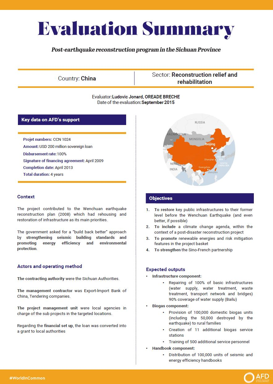 Evaluation Summary - Post-earthquake reconstruction program in the Sichuan Province, China