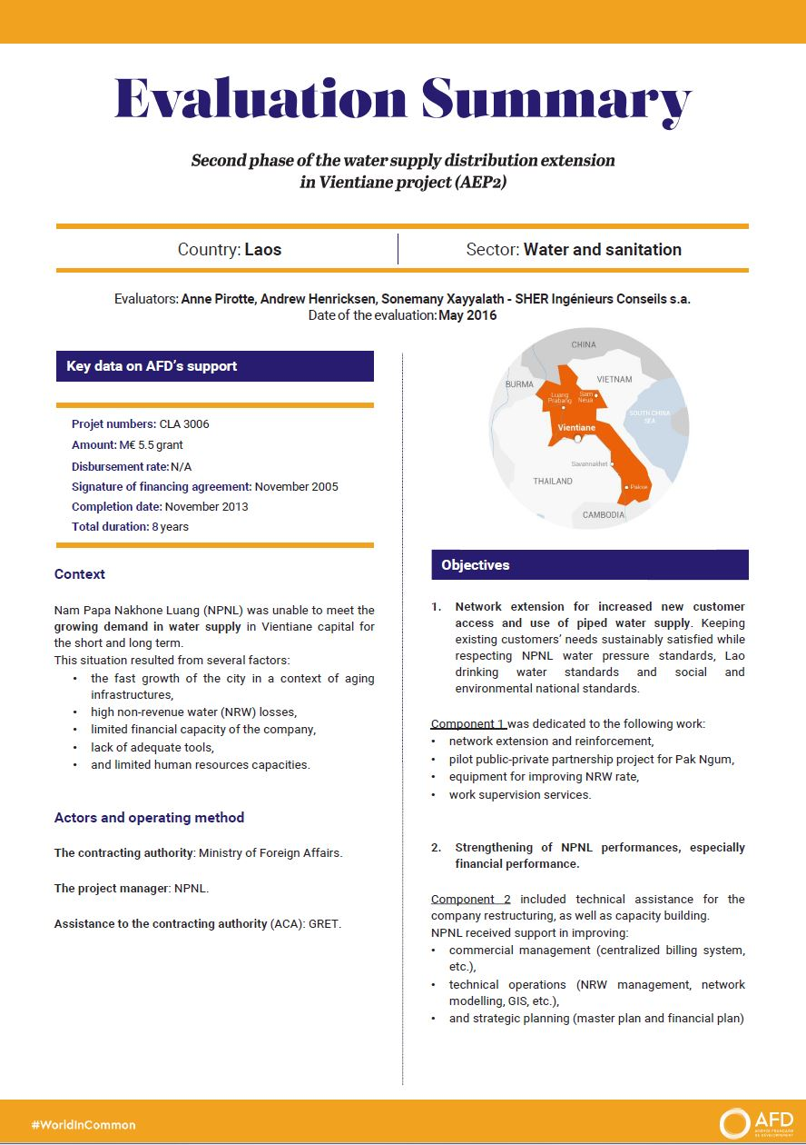 Evaluation Summary - Second phase of the water supply distribution extension in Vientiane project (AEP2)