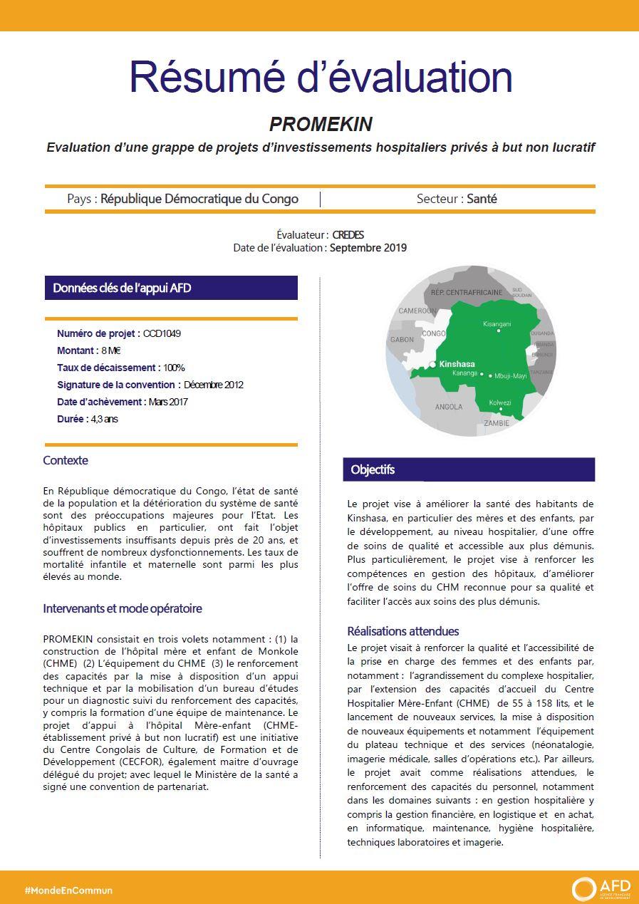 Résumé d'évaluation - PROMEKIN : évaluation d'une grappe de projets d'investissements hospitaliers privés à but non lucratif, RDC