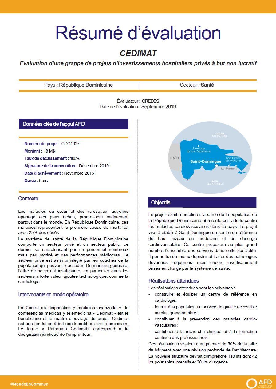Résumé d'évaluation - CEDIMAT : évaluation d'une grappe de projets d'investissements hospitaliers privés à but non lucratif, République dominicaine