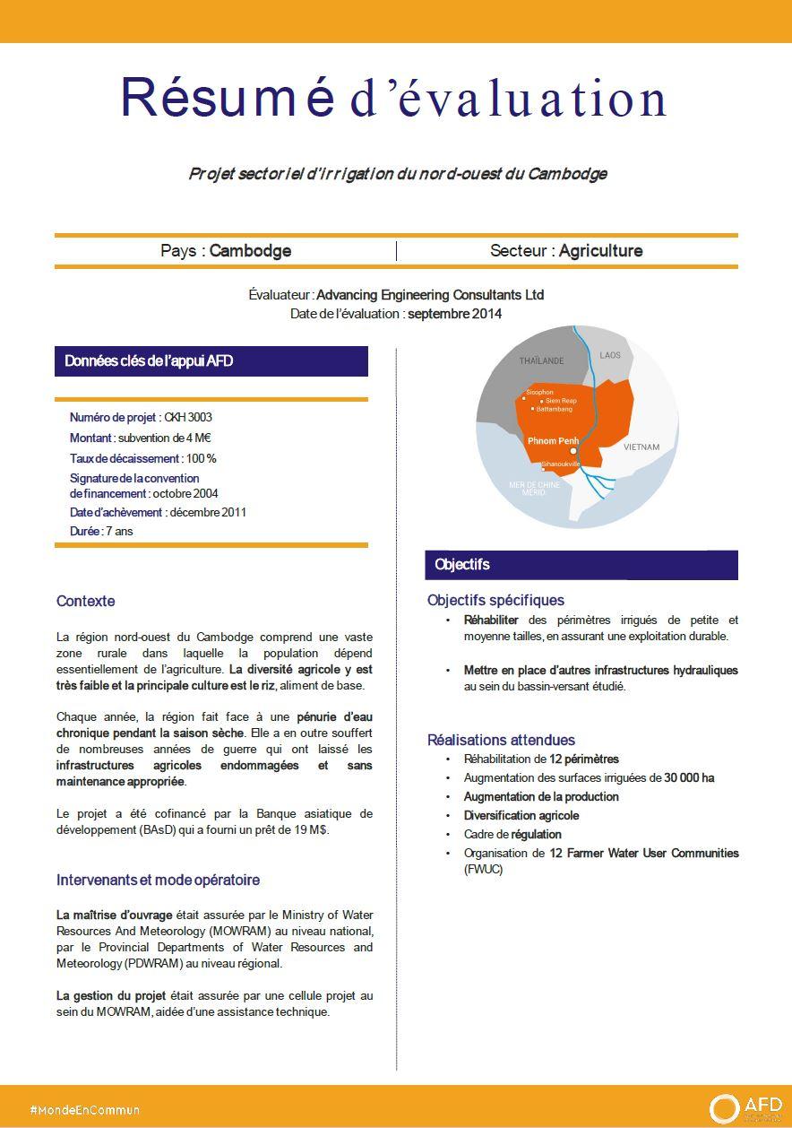 Résumé d'évaluation - Projet sectoriel d'irrigation du nord-ouest du Cambodge