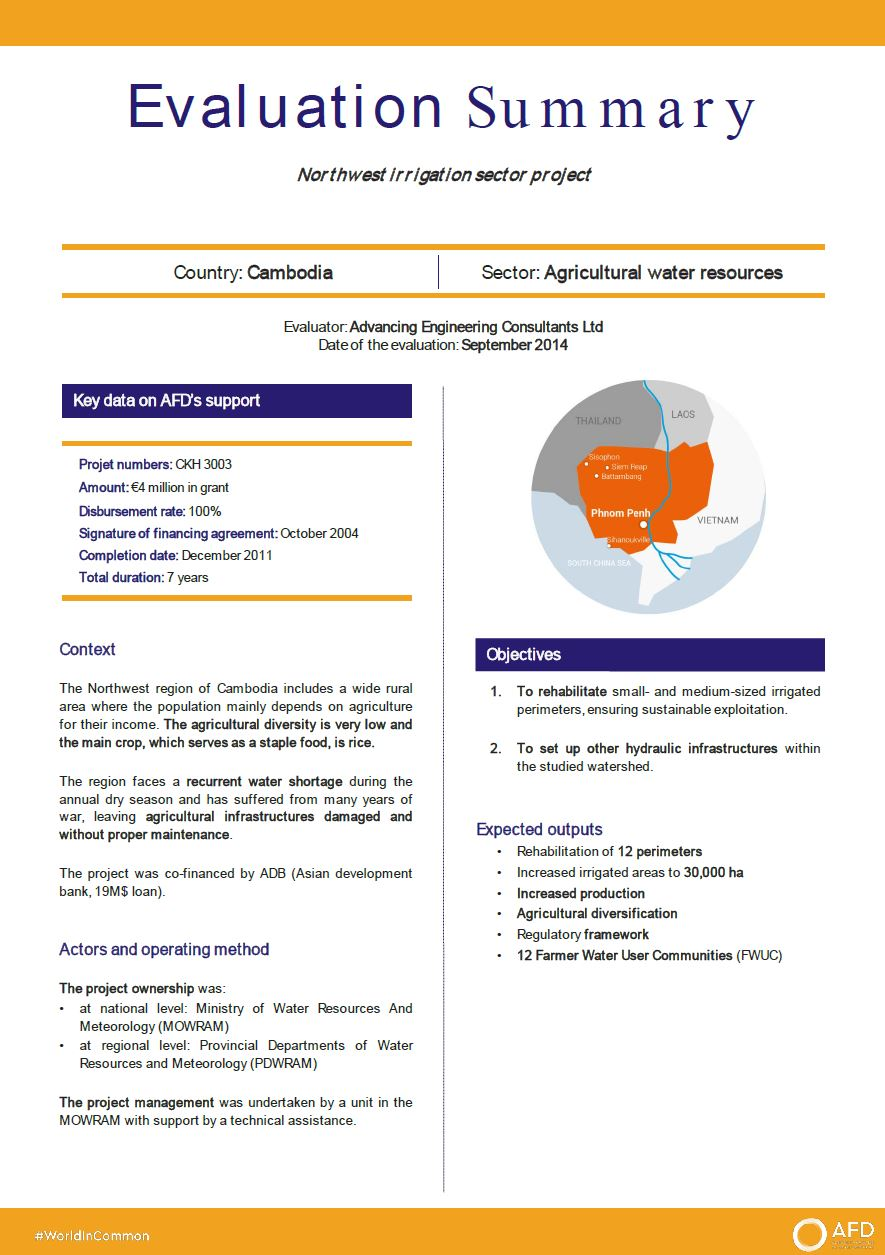 Evaluation Summary - Northwest irrigation sector project, Cambodia