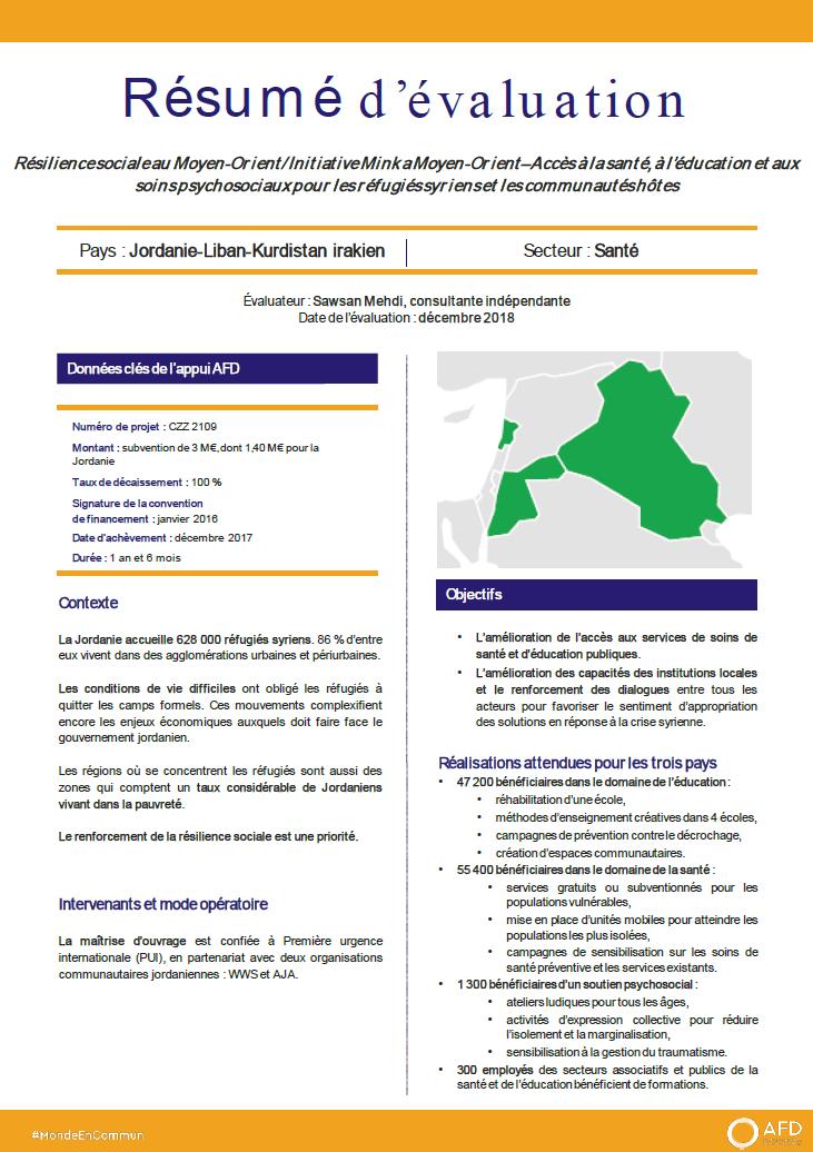 Résumé d'évaluation - Résilience sociale au Moyen-Orient : accès à la santé, à l'éducation et aux soins psychosociaux pour les réfugiés syriens et les communautés hôtes