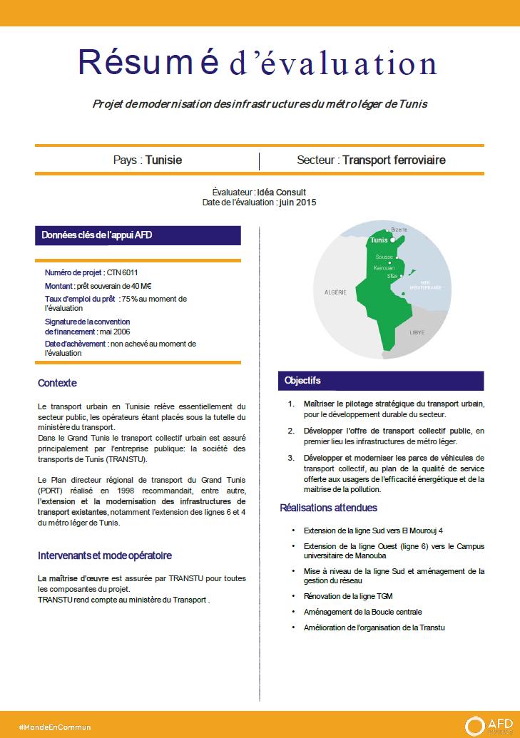 Résumé d'évaluation - Projet de modernisation des infrastructures du métro léger de Tunis CTN6011