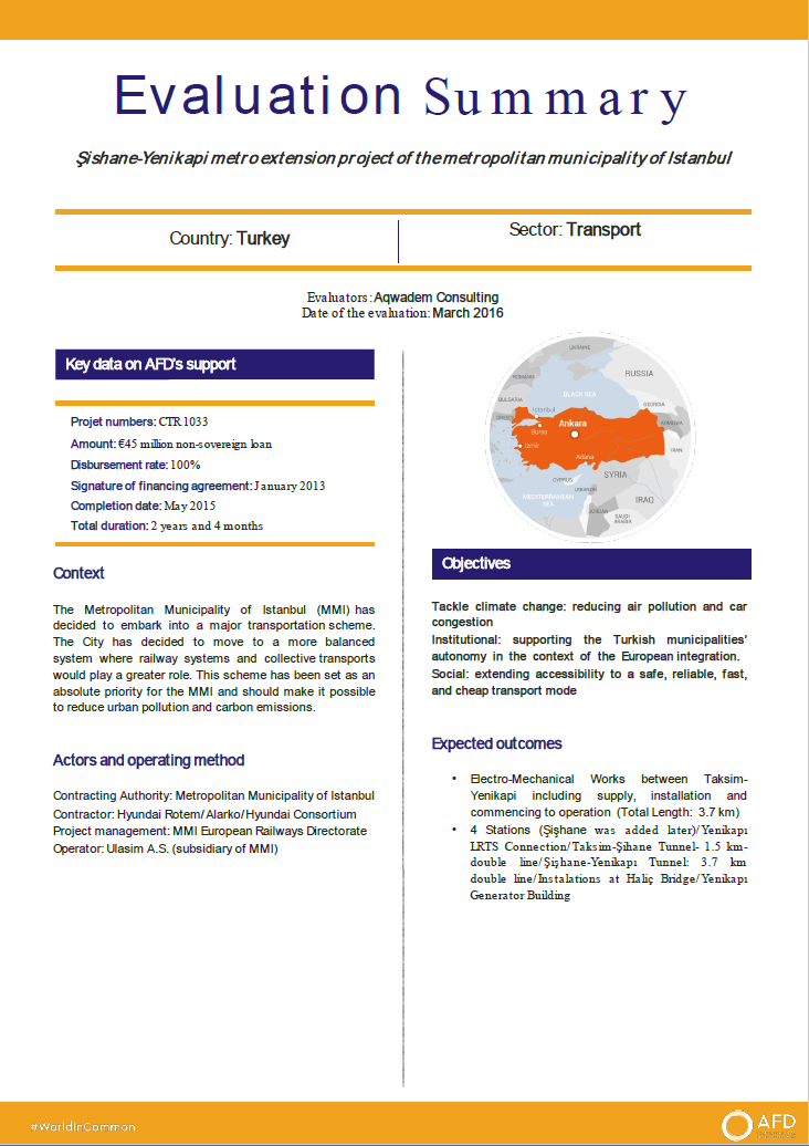 Evaluation Summary - Şishane-Yenikapi metro extension project of the metropolitan municipality of Istanbul CTR1033