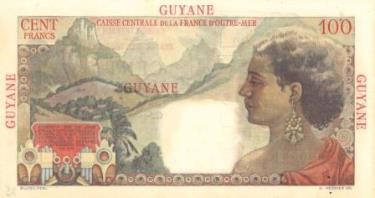 100-franc note issued by the CCFOM in French Guiana