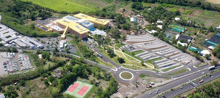 Vue aérienne du Centre hospitalier Ouest Réunion