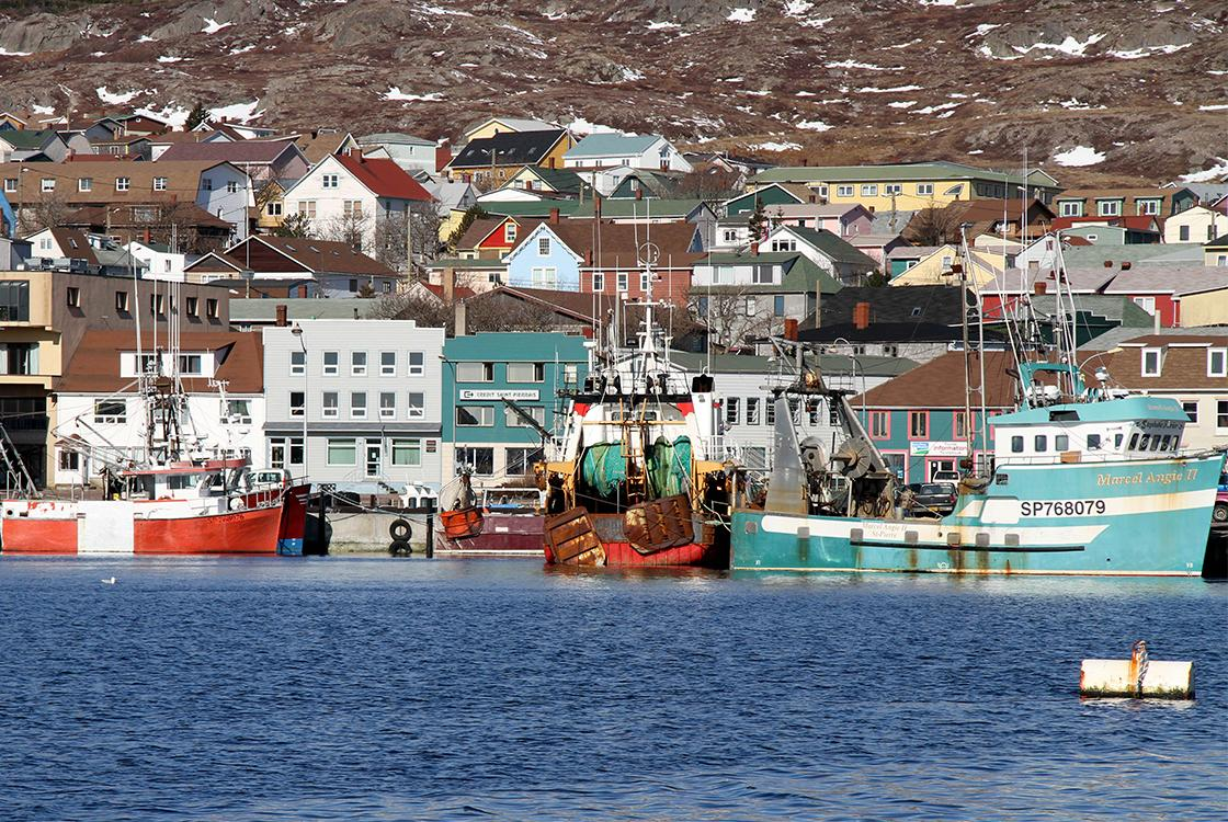 Saint-Pierre-et-Miquelon harbor, city, boat