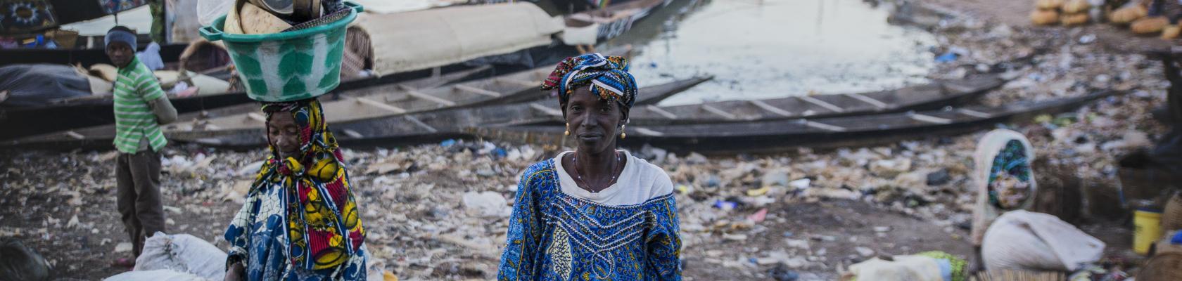 À Mopti, une vendeuse sur les quais, Mali