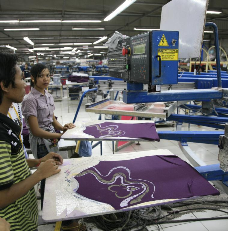Cambodia Garment manufacturing in a textile factory