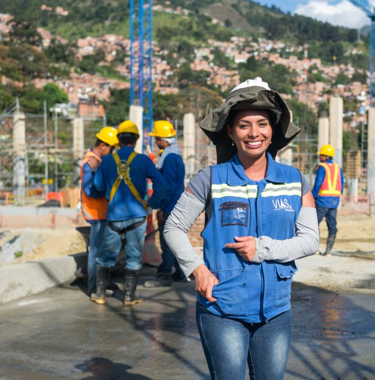 Woman on a building site of construction, Colombia