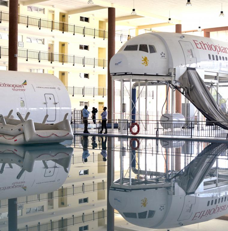 Ethiopie simulateurs au centre de formation Ethiopian Airlines avion