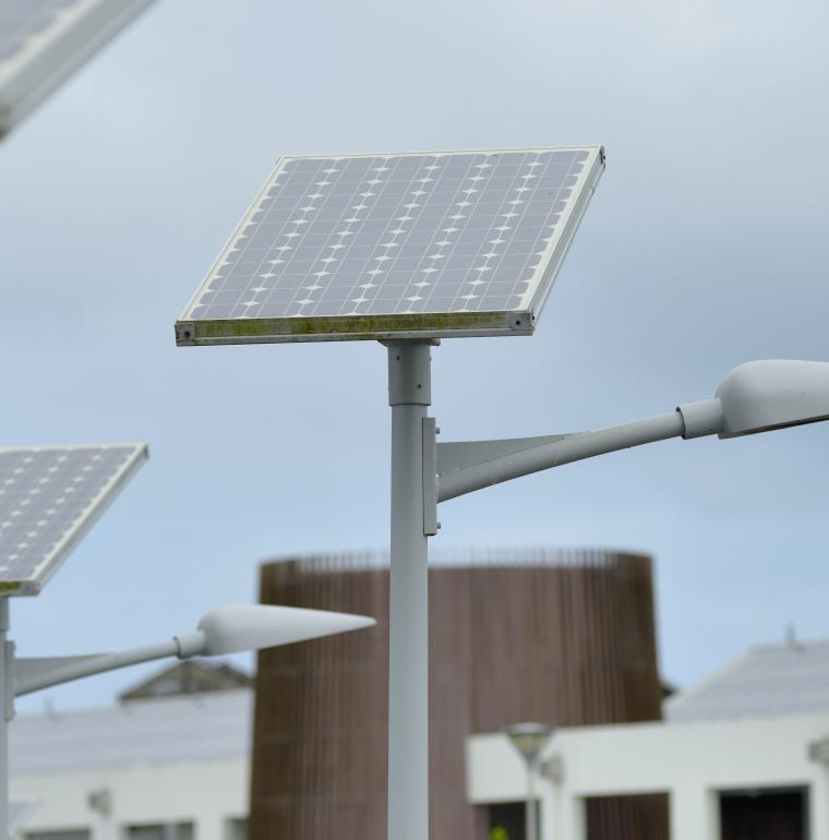 Solar pannels, street lights, Nord Grande-Terre, Port Louis, Guadeloupe, Gentilhomme