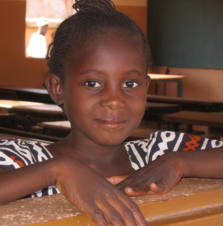 Young girl in her class in a school in Mali