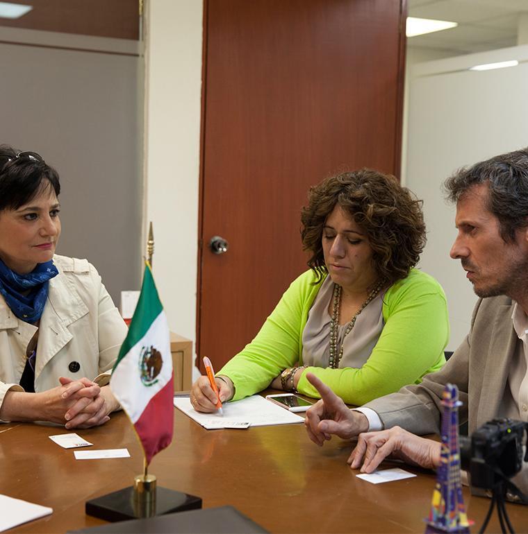 Mexique, Beatriz Bugeda, Mónica Echegoyen,  Jean-Marc Liger, discussion sur la lutte contre le changement climatique