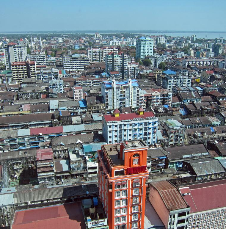 city center, Myanmar, urbanization, Rangoon