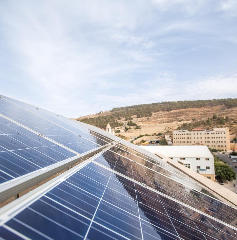 Panneaux solaires à l'université de Jerash, Jordanie