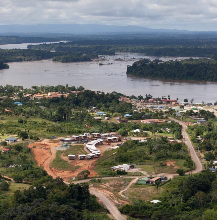 Apatou College, Guyane, aerial view, local authorities, education