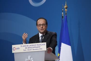 François Hollande during AFD's 75th anniversary