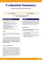 Evaluation Summary - Development of the Ninh Thuan irrigation system, Vietnam