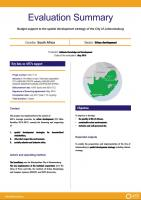 Evaluation Summary - Budget support to the spatial development strategy of the City of Johannesburg