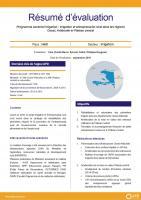 Résumé d'évaluation - Programme sectoriel irrigation et entrepreneuriat rural dans les régions Ouest, Artibonite et Plateau central, Haïti
