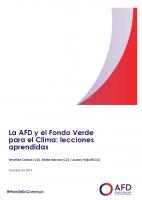 La AFD y el Fondo Verde para el Clima: lecciones aprendidas
