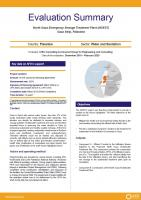 Evaluation Summary - North Gaza Emergency Sewage Treatment Plant (NGEST) Gaza Strip, Palestine