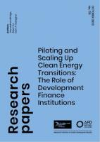 Research Paper 178 Piloting and Scaling Up Clean Energy Transitions: The Role of Development Finance
