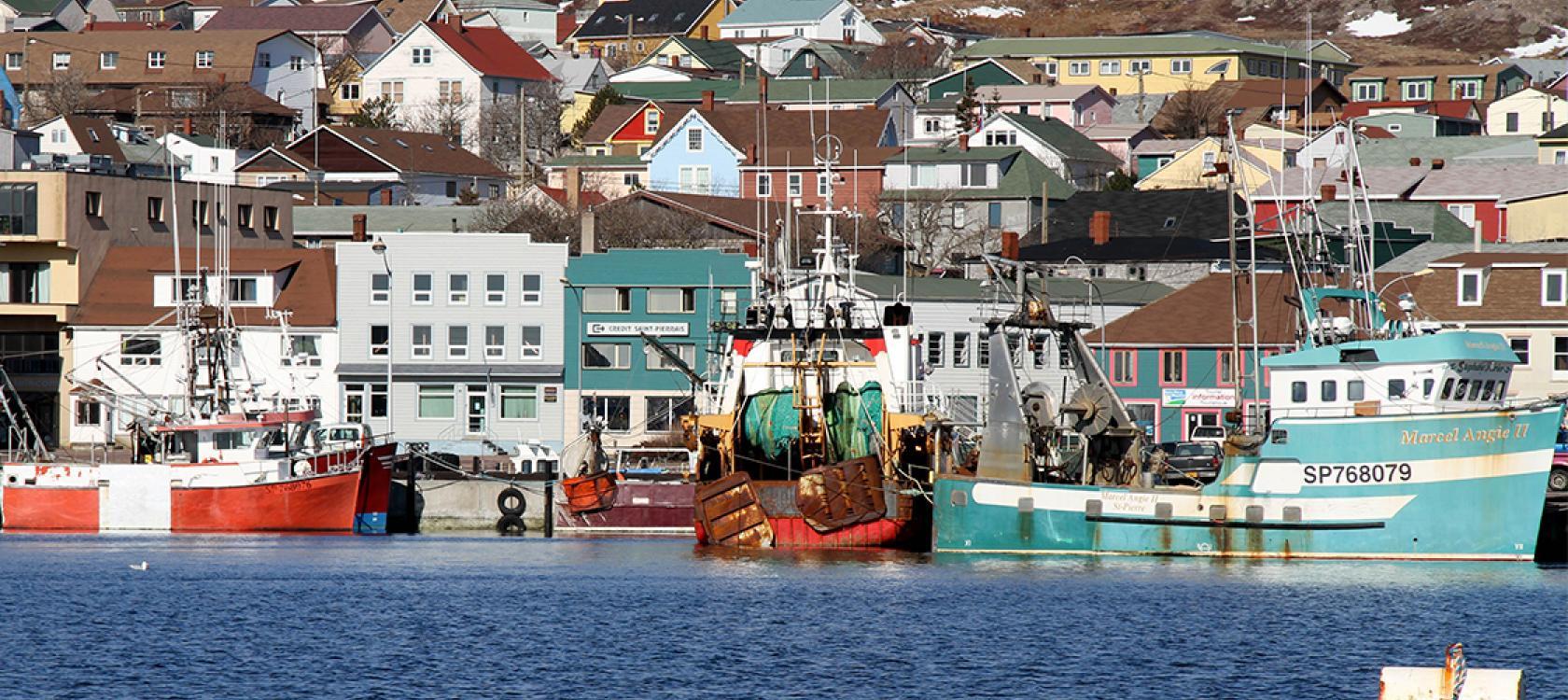 Saint-Pierre-et-Miquelon harbor, city, boat