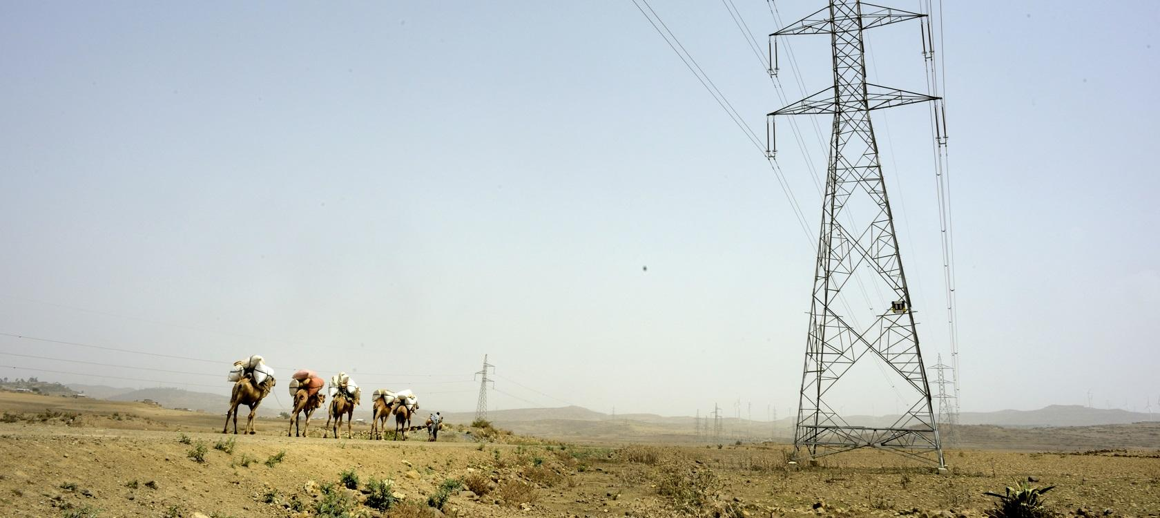 Power lines and electricity in Africa, and caravans, energy